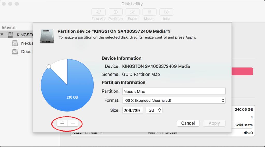 create new partion mac windows installation