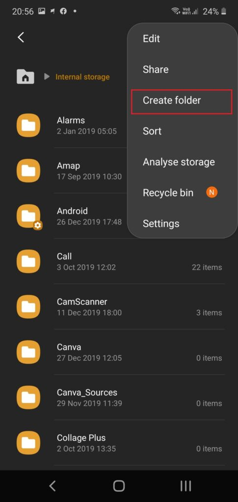 Create hidden folder android