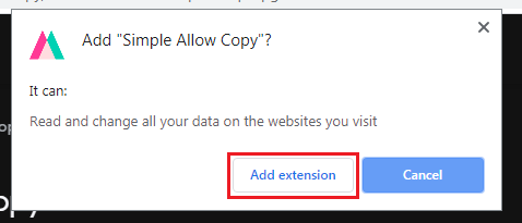 allow copy chrome web store