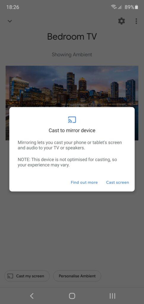 cast mobile screen to smart tv via chromecast